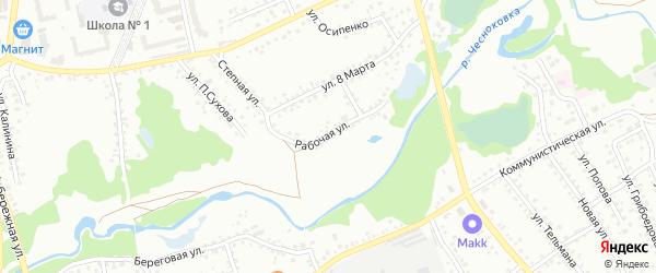 Рабочая улица на карте Новоалтайска с номерами домов