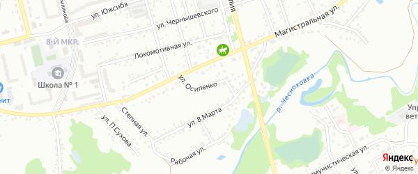 Улица Осипенко на карте Новоалтайска с номерами домов