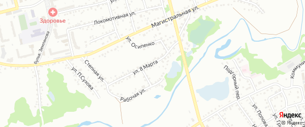 Улица 8 Марта на карте Новоалтайска с номерами домов