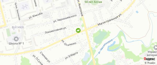 Магистральная улица на карте Новоалтайска с номерами домов