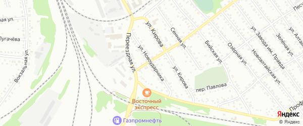 Улица Новоударника на карте Новоалтайска с номерами домов
