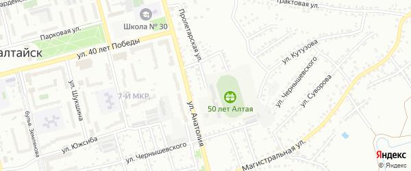 Пролетарская улица на карте Новоалтайска с номерами домов