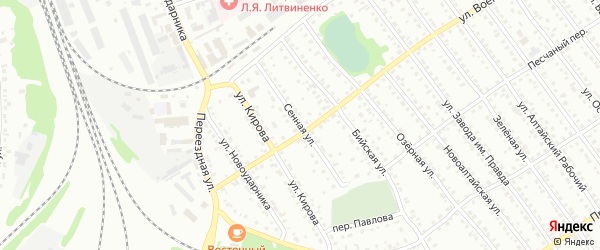 Сенная улица на карте Новоалтайска с номерами домов