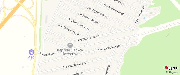 Заречная 1-я улица на карте села Санниково с номерами домов
