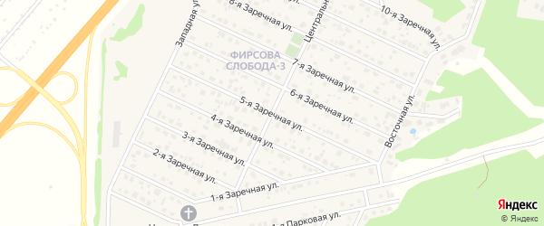 Заречная 5-я улица на карте села Санниково с номерами домов