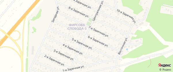 Заречная 6-я улица на карте села Санниково с номерами домов