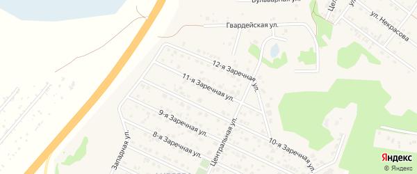 Заречная 11-я улица на карте села Санниково с номерами домов
