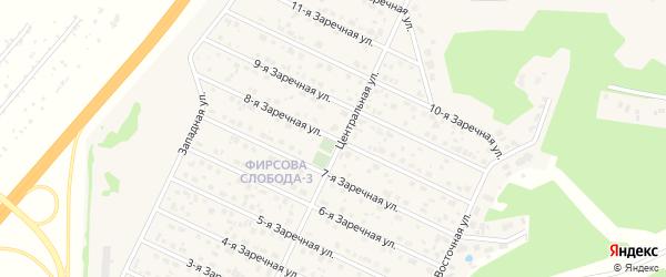 Заречная 8-я улица на карте села Санниково с номерами домов