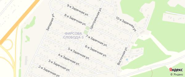 Заречная 7-я улица на карте села Санниково с номерами домов
