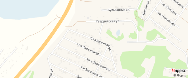 Заречная 12-я улица на карте села Санниково с номерами домов
