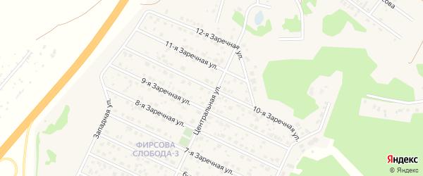 Заречная 10-я улица на карте села Санниково с номерами домов