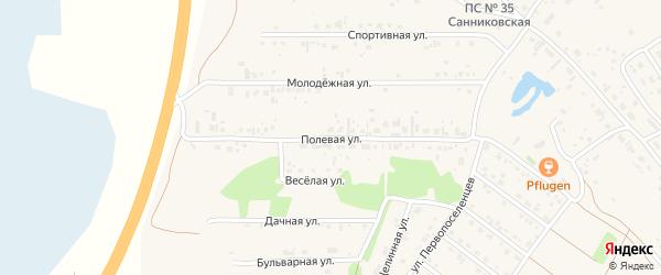 Полевая улица на карте села Санниково с номерами домов