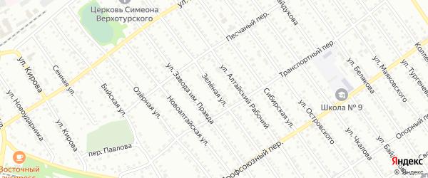 Зеленая улица на карте Новоалтайска с номерами домов