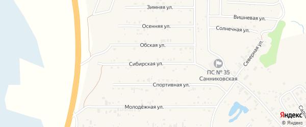 Сибирская улица на карте села Санниково с номерами домов