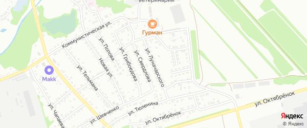 Улица Луначарского на карте Новоалтайска с номерами домов