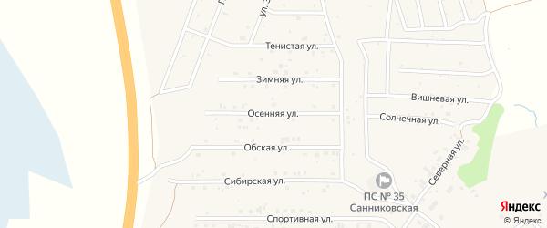 Осенняя улица на карте села Санниково с номерами домов