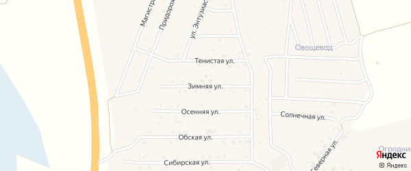 Зимняя улица на карте села Санниково с номерами домов