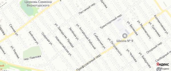 Улица Алтайский рабочий на карте Новоалтайска с номерами домов