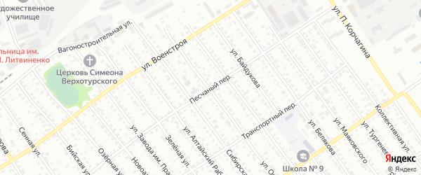Песчаный переулок на карте Новоалтайска с номерами домов