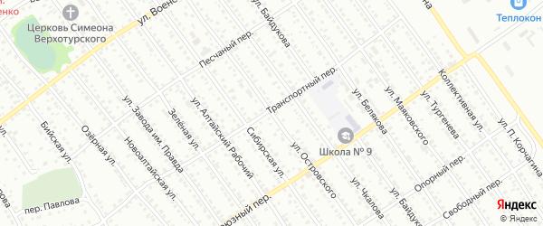 Улица Островского на карте Новоалтайска с номерами домов