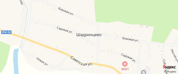 Украинский переулок на карте села Шадринцево с номерами домов