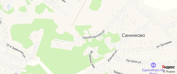Пролетарская улица на карте села Санниково с номерами домов
