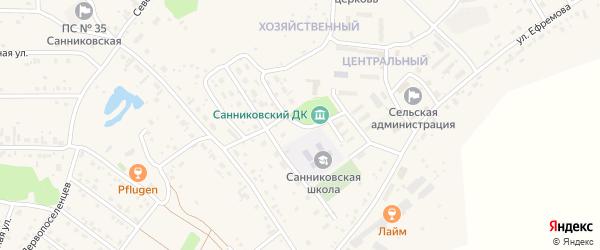 Весенний переулок на карте села Санниково с номерами домов