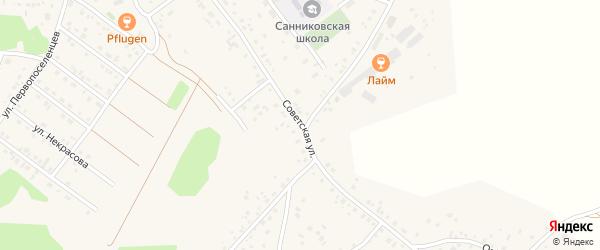 Советская улица на карте села Санниково с номерами домов