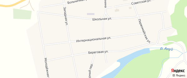 Интернациональная улица на карте села Антоньевки с номерами домов