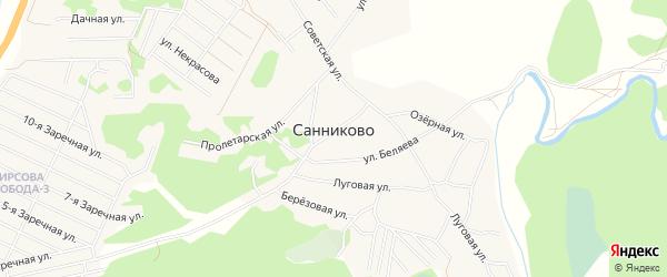 СТ Огородник на карте села Санниково с номерами домов