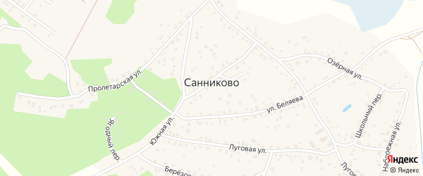 Детская улица на карте села Санниково с номерами домов