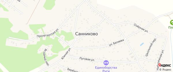 Тенистая улица на карте села Санниково с номерами домов