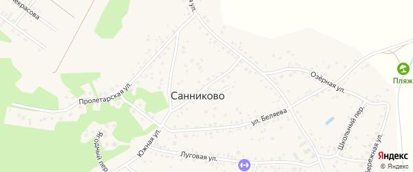 Улица Лесникова на карте села Санниково с номерами домов