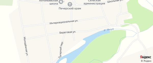 Береговая улица на карте села Антоньевки с номерами домов