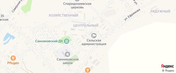 Центральный микрорайон на карте села Санниково с номерами домов