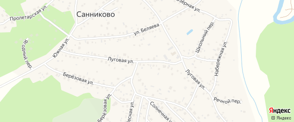 Луговая улица на карте села Санниково с номерами домов