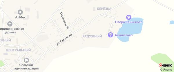 Радужный микрорайон на карте села Санниково с номерами домов