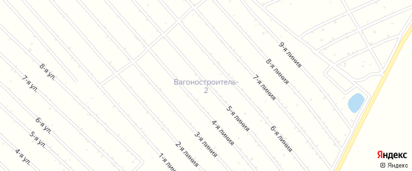 2-я линия на карте садового некоммерческого товарищества Вагоностроителя-2 с номерами домов