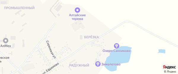 Микрорайон Березка на карте села Санниково с номерами домов