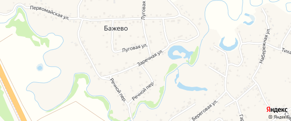Заречная улица на карте поселка Бажево с номерами домов