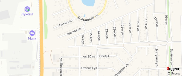 25-я улица на карте Солнечного села с номерами домов