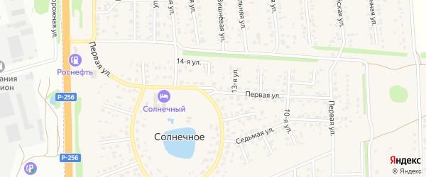 Первая улица на карте Солнечного села с номерами домов