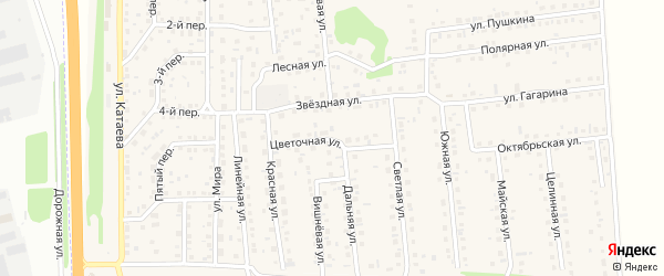Цветочная улица на карте садового некоммерческого товарищества Овощевода с номерами домов