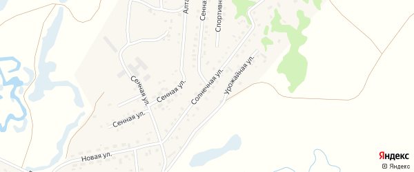 Солнечная улица на карте поселка Бажево с номерами домов