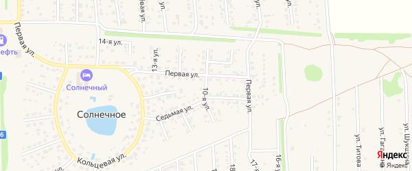 10-я улица на карте Солнечного села с номерами домов
