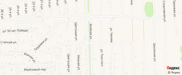 Зелёная улица на карте Нового поселка с номерами домов