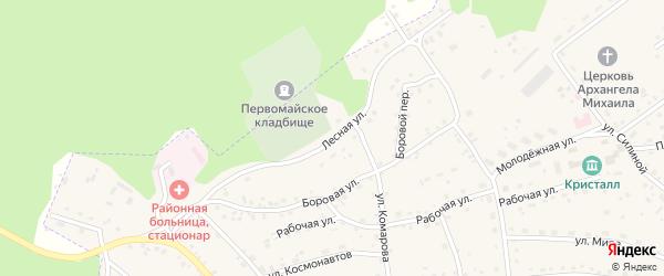 Лесная улица на карте Первомайского села с номерами домов