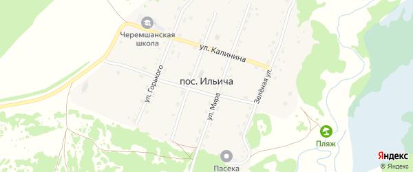 Зеленая улица на карте поселка Ильича с номерами домов