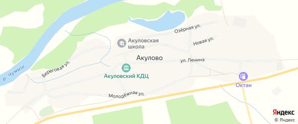 Карта села Акулово в Алтайском крае с улицами и номерами домов