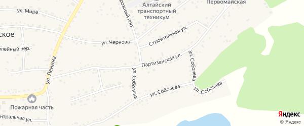 Партизанская улица на карте Первомайского села с номерами домов